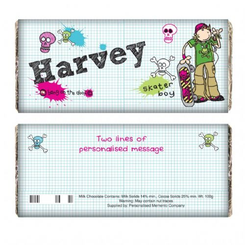 Personalised Bang on the Door Skater Boy Chocolate Bar